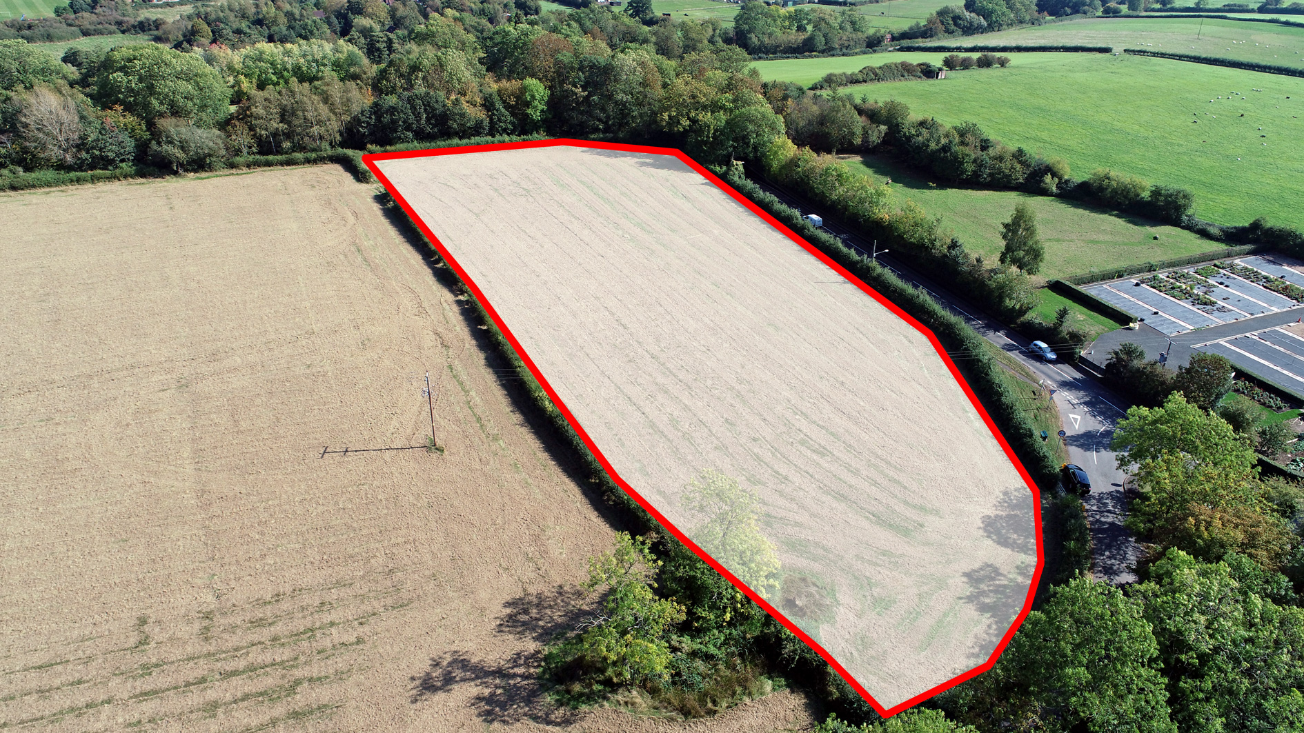 Land for sale in Feckenham aerial view
