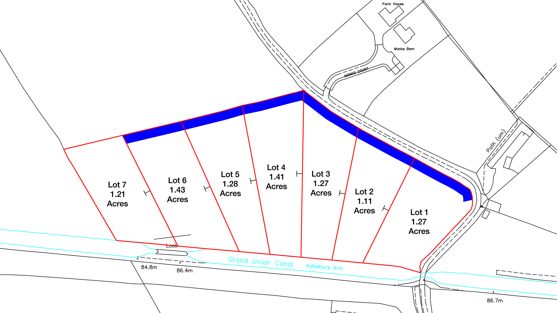 Land for sale on the Grand Union Canal site plan