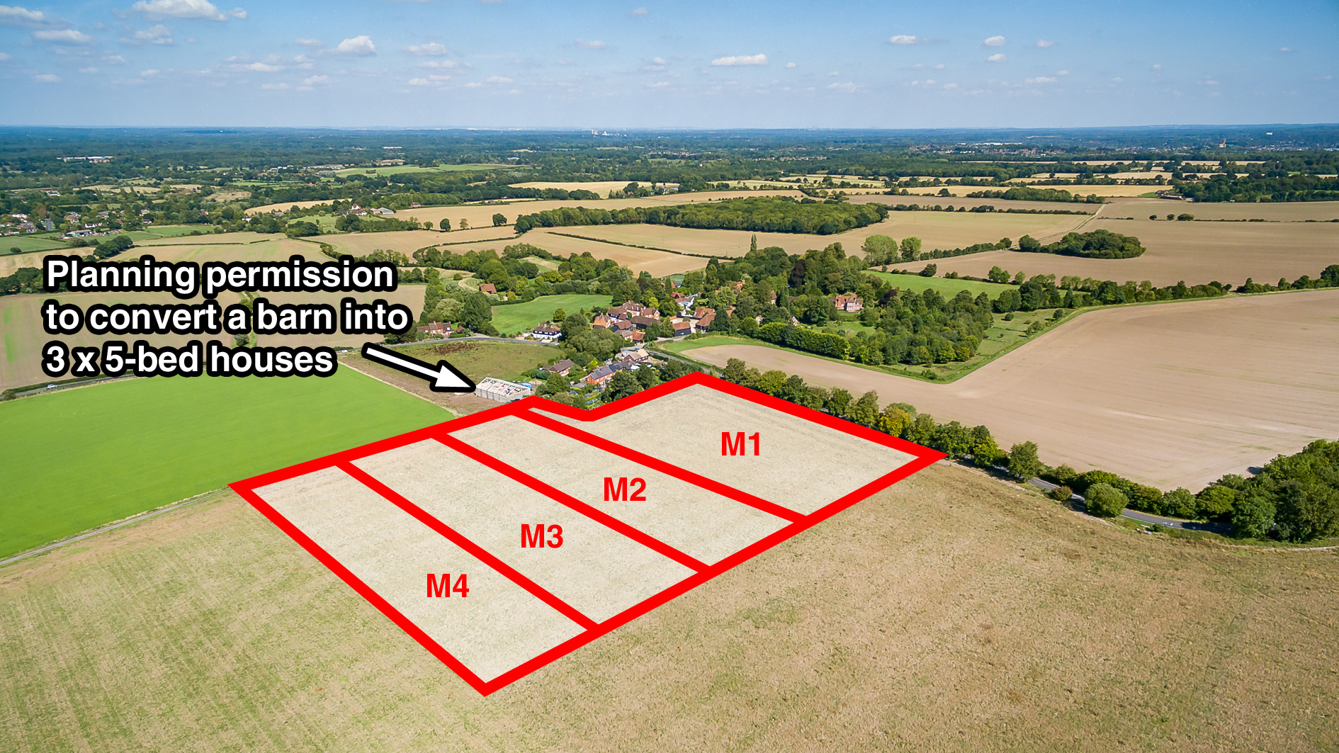 Land for sale at Manor Farm Cottages aerial view